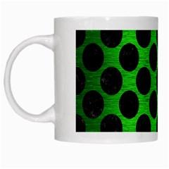 Circles2 Black Marble & Green Brushed Metal (r) White Mugs