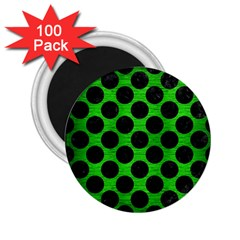 Circles2 Black Marble & Green Brushed Metal (r) 2 25  Magnets (100 Pack)