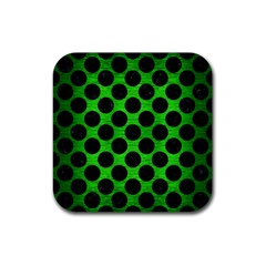 Circles2 Black Marble & Green Brushed Metal (r) Rubber Coaster (square)