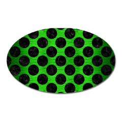 Circles2 Black Marble & Green Brushed Metal (r) Oval Magnet