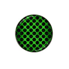 Circles2 Black Marble & Green Brushed Metal (r) Hat Clip Ball Marker (10 Pack)