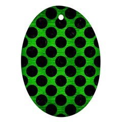 Circles2 Black Marble & Green Brushed Metal (r) Oval Ornament (two Sides)