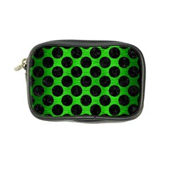 Circles2 Black Marble & Green Brushed Metal (r) Coin Purse
