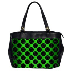 Circles2 Black Marble & Green Brushed Metal (r) Office Handbags (2 Sides)