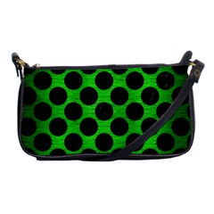 Circles2 Black Marble & Green Brushed Metal (r) Shoulder Clutch Bags