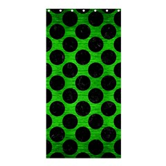 Circles2 Black Marble & Green Brushed Metal (r) Shower Curtain 36  X 72  (stall)