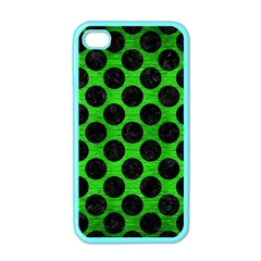 Circles2 Black Marble & Green Brushed Metal (r) Apple Iphone 4 Case (color)