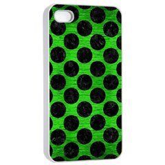 Circles2 Black Marble & Green Brushed Metal (r) Apple Iphone 4/4s Seamless Case (white)