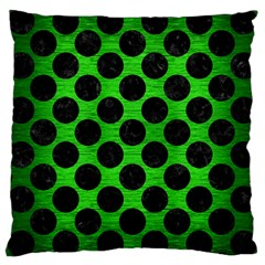 Circles2 Black Marble & Green Brushed Metal (r) Large Cushion Case (one Side)
