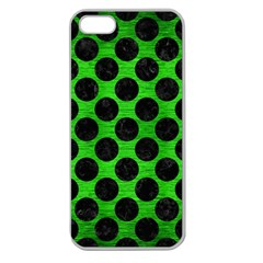 Circles2 Black Marble & Green Brushed Metal (r) Apple Seamless Iphone 5 Case (clear)