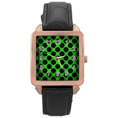 Circles2 Black Marble & Green Brushed Metal (r) Rose Gold Leather Watch