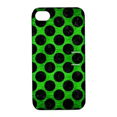 Circles2 Black Marble & Green Brushed Metal (r) Apple Iphone 4/4s Hardshell Case With Stand