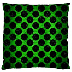 Circles2 Black Marble & Green Brushed Metal (r) Large Flano Cushion Case (one Side)