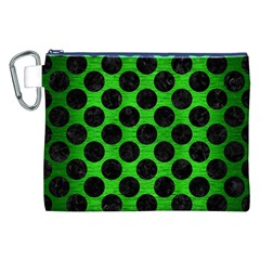 Circles2 Black Marble & Green Brushed Metal (r) Canvas Cosmetic Bag (xxl)