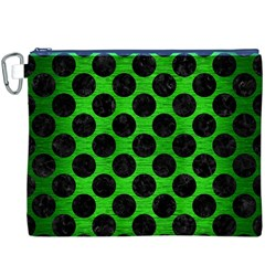 Circles2 Black Marble & Green Brushed Metal (r) Canvas Cosmetic Bag (xxxl)