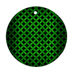 Circles3 Black Marble & Green Brushed Metal Ornament (round)