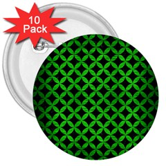 Circles3 Black Marble & Green Brushed Metal 3  Buttons (10 Pack)