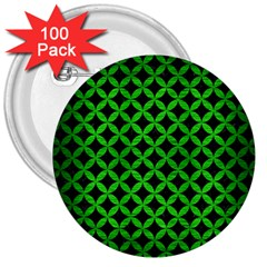 Circles3 Black Marble & Green Brushed Metal 3  Buttons (100 Pack)