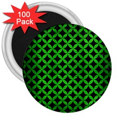 Circles3 Black Marble & Green Brushed Metal 3  Magnets (100 Pack)