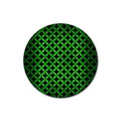 Circles3 Black Marble & Green Brushed Metal Rubber Round Coaster (4 Pack)