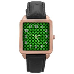 Circles3 Black Marble & Green Brushed Metal Rose Gold Leather Watch