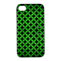 Circles3 Black Marble & Green Brushed Metal Apple Iphone 4/4s Hardshell Case With Stand