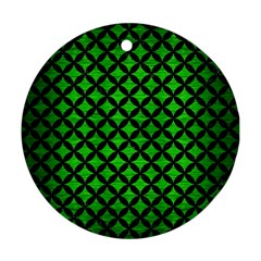 Circles3 Black Marble & Green Brushed Metal (r) Ornament (round)