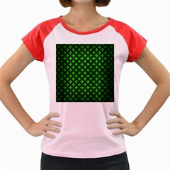 Circles3 Black Marble & Green Brushed Metal (r) Women s Cap Sleeve T Shirt