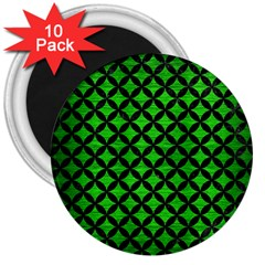 Circles3 Black Marble & Green Brushed Metal (r) 3  Magnets (10 Pack)