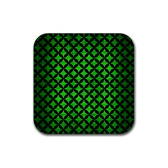 Circles3 Black Marble & Green Brushed Metal (r) Rubber Coaster (square)