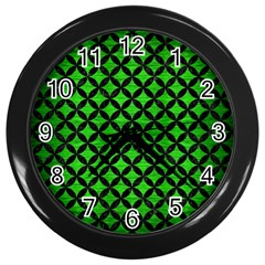 Circles3 Black Marble & Green Brushed Metal (r) Wall Clocks (black)