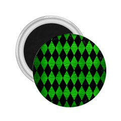 Diamond1 Black Marble & Green Brushed Metal 2 25  Magnets