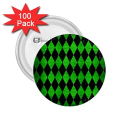 Diamond1 Black Marble & Green Brushed Metal 2 25  Buttons (100 Pack)