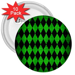 Diamond1 Black Marble & Green Brushed Metal 3  Buttons (10 Pack)