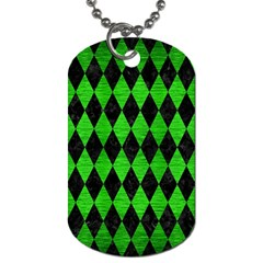 Diamond1 Black Marble & Green Brushed Metal Dog Tag (two Sides)