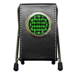 Diamond1 Black Marble & Green Brushed Metal Pen Holder Desk Clocks