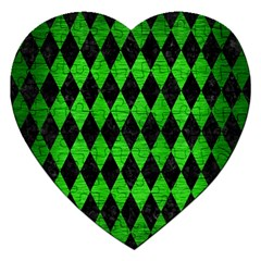 Diamond1 Black Marble & Green Brushed Metal Jigsaw Puzzle (heart)