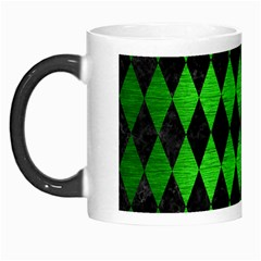 Diamond1 Black Marble & Green Brushed Metal Morph Mugs