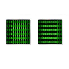 Diamond1 Black Marble & Green Brushed Metal Cufflinks (square)
