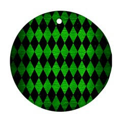 Diamond1 Black Marble & Green Brushed Metal Round Ornament (two Sides)