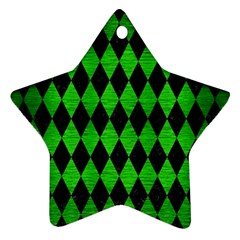 Diamond1 Black Marble & Green Brushed Metal Star Ornament (two Sides)