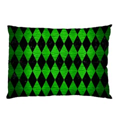 Diamond1 Black Marble & Green Brushed Metal Pillow Case