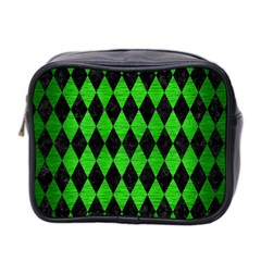 Diamond1 Black Marble & Green Brushed Metal Mini Toiletries Bag 2 Side