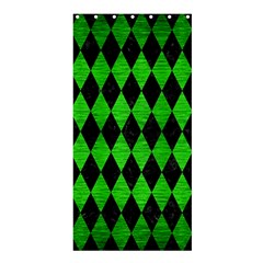 Diamond1 Black Marble & Green Brushed Metal Shower Curtain 36  X 72  (stall)
