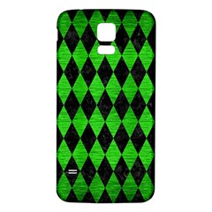 Diamond1 Black Marble & Green Brushed Metal Samsung Galaxy S5 Back Case (white)