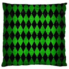 Diamond1 Black Marble & Green Brushed Metal Standard Flano Cushion Case (one Side)