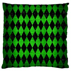 Diamond1 Black Marble & Green Brushed Metal Large Flano Cushion Case (one Side)