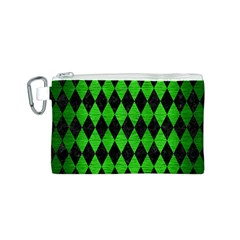 Diamond1 Black Marble & Green Brushed Metal Canvas Cosmetic Bag (s)