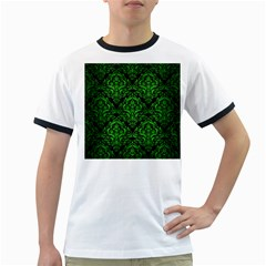 Damask1 Black Marble & Green Brushed Metal Ringer T Shirts