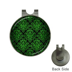 Damask1 Black Marble & Green Brushed Metal Hat Clips With Golf Markers